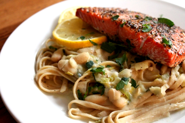 Fettuccine with Leeks and White Beans + Broiled Salmon